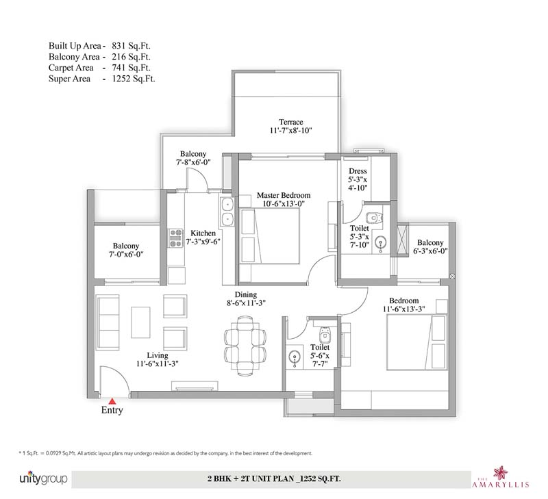 Unity Group Floor Plan 3BHK